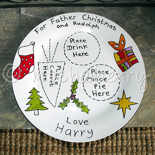 & Personalised Father Christmas and Rudolph Plate | Santa Xmas Plate